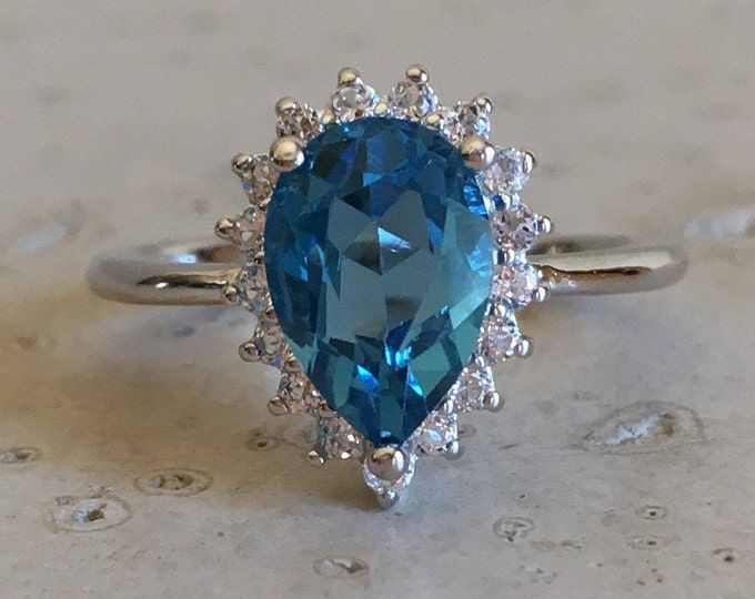 Pear London Blue Topaz Engagement Ring- Halo Teardrop Engagement Ring- Dark Blue Engagement Ring- December Birthstone Ring- Dainty Ring