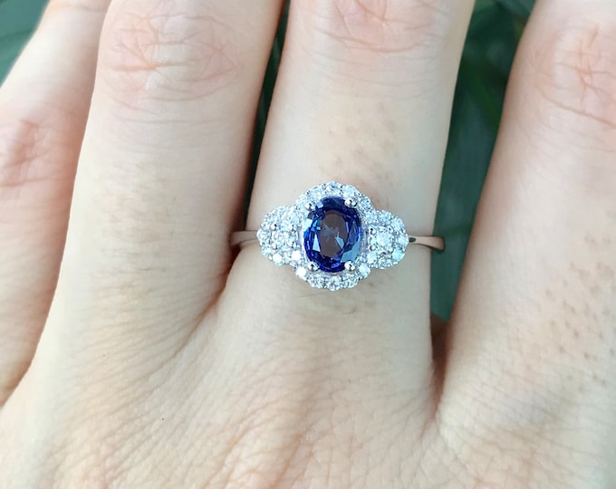 Blue Sapphire Art Deco Engagement Ring- Royal Oval Sapphire Promise Ring for Her- Halo Sapphire Diamond Anniversary Ring- September Ring
