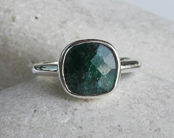 Raw Natural Emerald Ring May Birthstone Ring Green Gemstone Ring Stacking Ring Silver Ring Simple Minimal Ring Bezel Set Square Emerald Ring