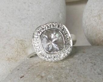 White Topaz Engagement Ring- Halo Alternative Engagement Ring- White Gemstone Bridal Wedding Ring- Cushion Cut Ring- April Birthstone Ring