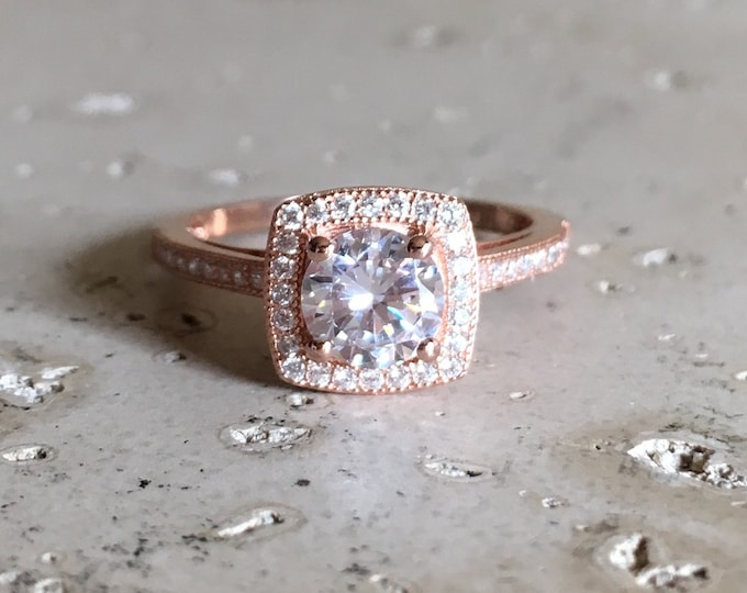 Square Engagement Rose Gold Ring- Cubic Zirconia Promise Ring for Her- White Sparkly Sterling Silver Ring- Anniversary Gemstone Ring