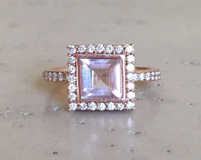 Princess Morganite Engagement Ring- Rose Gold Morganite Ring- Halo Diamond Square Morganite Ring- Pink Colored Gemstone Alternative Ring