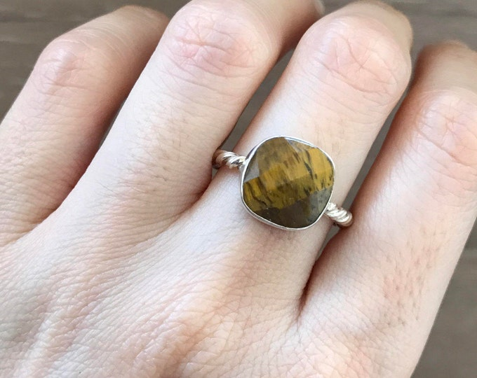 Cushion Tiger Eye Ring- Silver Tiger Eye Ring- Stackable Square Shape Ring- Brown Gold Stone Ring- Rope Band Ring
