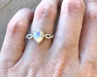 Pear Shape Engagement Ring- Opal Promise Ring- 18k White Gold Wedding Ring- Opal Anniversary Ring- Opal Bridal Ring- October Birhtstone Ring