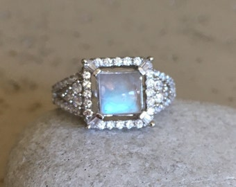 Princess Moonstone Engagement Ring- Rainbow Moonstone Promise Ring-June Birthstone Ring- Solitaire Anniversary Ring- Square Shape Ring