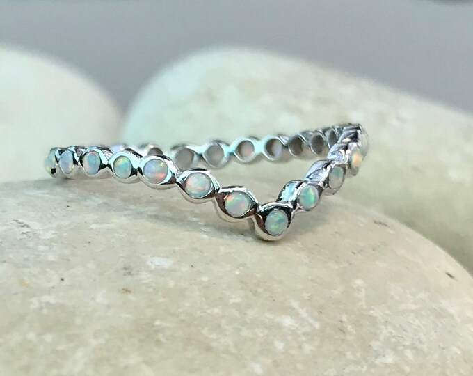 Opal Womens Chevron Wedding Curve Band- Opal V Crown Nesting Contour Band- Full Eternity Arc Band- Iridescent Rainbow Bohemian Band