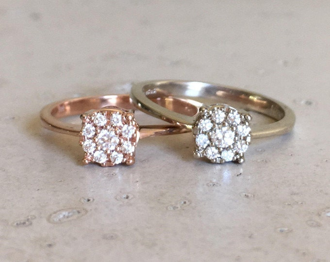 Rose Gold Cluster Diamond Ring- Floral Diamond Engagement Ring- Diamond Gold Ring- Stacking Diamond Multistone Ring- Floral Diamond Ring