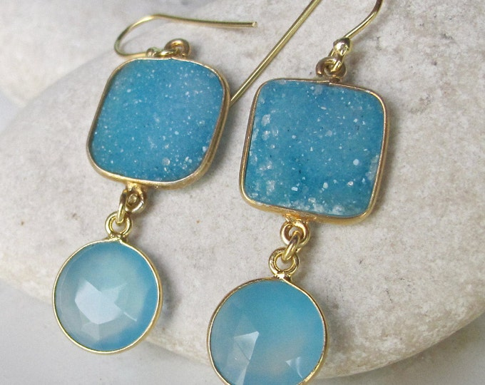 Blue Druzy Earring Gold Druzy Gold Dangle Drop Earring Handmade Blue Boho Festival Sparkly Unique Earring Bohemian Jewelry 2 Stone Earring