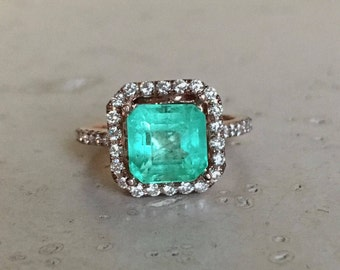Square Emerald Engagement Ring- Genuine Emerald Halo Diamond Ring- Large Cushion 2.5ct Emerald Anniversary Ring- Green Engagement Ring