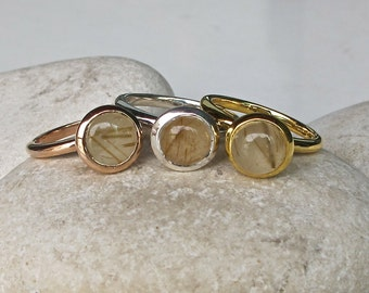 Smooth Rutile Quartz Ring- Stackable Rose Gold Ring- Unique Round Gemstone Ring- Gold Rutilated Quartz Ring-Gold Rutile Sterling Silver Ring