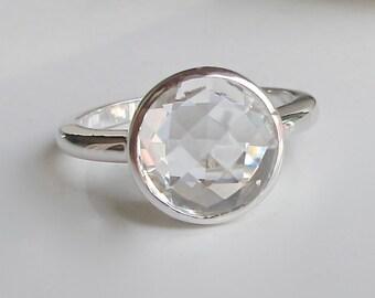 White Topaz Silver Ring- Claer Colorless Promise Ring for Her- Stackable White Quartz Ring- April Birthstone Ring- Alternative Diamond Ring