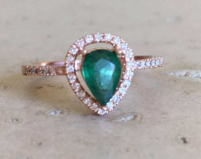 Genuine Emerald Ring Emerald Engagement Ring Halo Solitaire Green Gemstone Wedding Emerald Anniversary Tear Drop 14k Gold Diamond