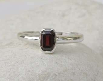 Rectangle Cut Garnet Ring- Tiny Red Stackable Ring- Sterling Silver Small Ring- Children Gemstone Ring- January Birthstone Ring
