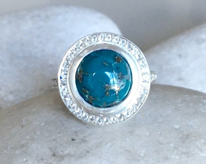 Turquoise Engagement Ring- Halo Cabochon Promise Ring- Round Shaped Bridal Wedding Ring- Statement Gemstone Ring- December Birthstone Ring