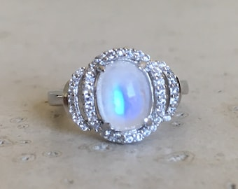 Rainbow Moonstone Engagement Ring- Deco Oval Moonstone Ring- Halo Moonstone Solitaire Ring- June Birthstone Ring