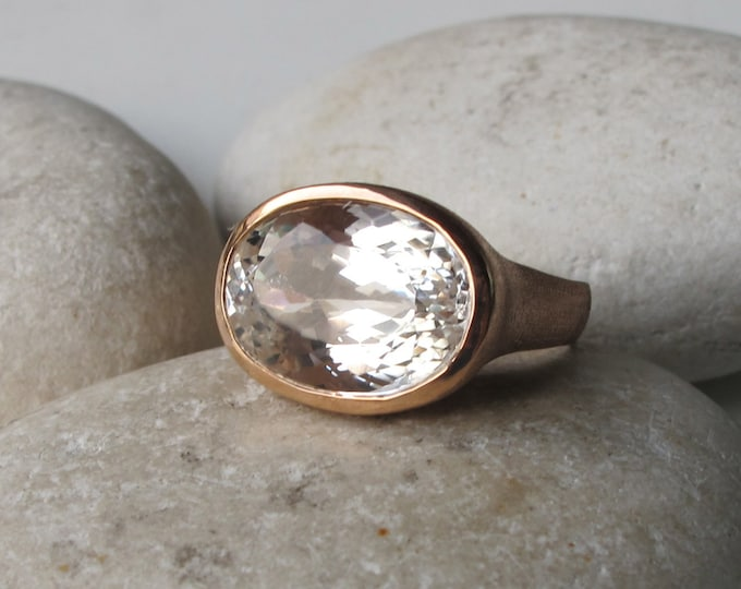 Rose Gold Engagement Ring- Alternative Engagement Ring- Nontraditional Engagement Ring- White Topaz Engagement Ring- Unique Engagement Ring