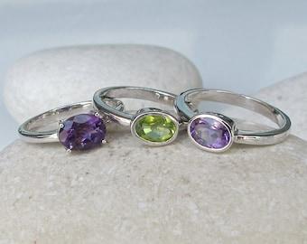 Purple Fervor Ring- Stack Birthstone Ring- Peridot Ring- Amethyst Ring- Mothers Ring- Dainty Ring- Gemstone Ring- Statement Rings