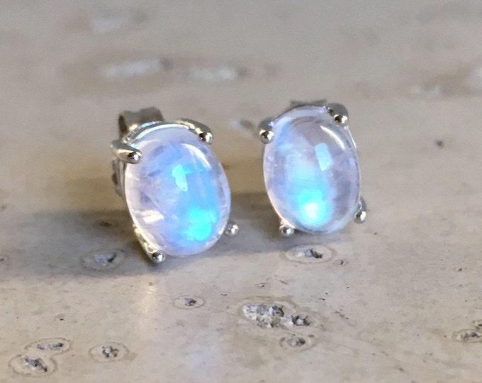 Moonstone Stud Earring- Oval Stud Earring- Rainbow Moonstone Earrings- Sterling Silver Earring- June Birthstone Earring- Classic Prong Stud