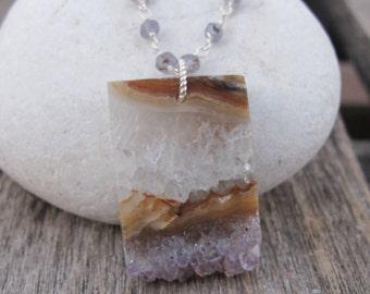 Raw Amethyst Necklace- Raw Crystal Necklace- Natural Raw Gemstone Necklace- February Birthstone Rock Boho Necklace Geode Slice Slab Necklace