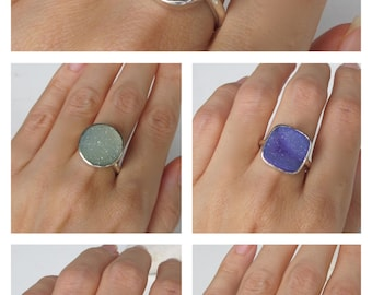 Druzy Solitaire Ring All Sizes Custom Sizing Size 9 Size 10