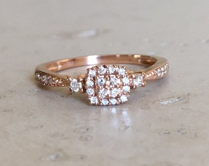 Rose Gold Diamond Promise Ring- Cluster Diamond Dainty Ring- Three Stone Ring- Solitiare Diamond Ring for Her- April Birthstone Ring