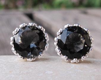 Mystic Gypsy Earring- Bohemian Dark Blue Earring- Bluish Black Stud Earring- Simple Round Minimalist Earring- Boho Festive Gemstone Earring