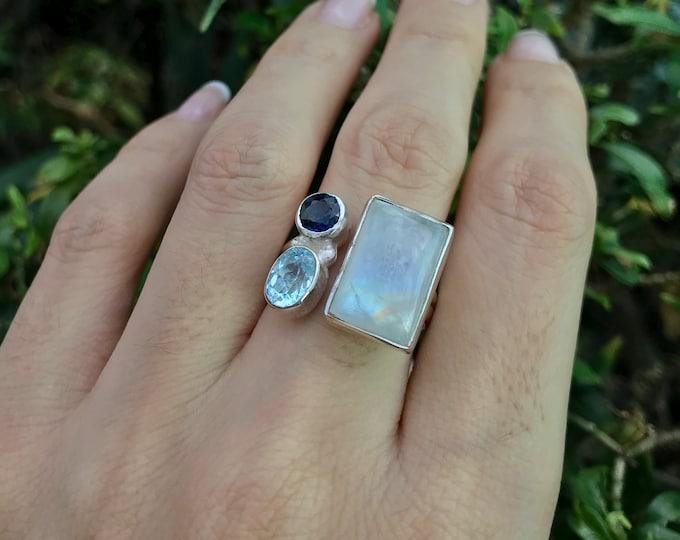Moonstone Cluster Adjustable Statement Silver Ring- Multistone Rainbow Moonstone with Sapphire and Aquamarine Ring- Boho Large Gemstone Ring