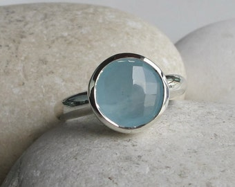 Round Blue Stackable Ring- Faceted Aqua Gemstone Ring- Sterling Silver Blue Ring- Blue Chalcedony Ring- Simple Blue Ring- Classic Blue Ring