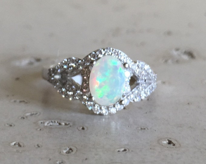 Deco Opal Engagement Ring- Halo Opal Promise Ring- Oval Opal Anniversary Ring- October Birthstone Ring- Genuine Opal Statement Ring