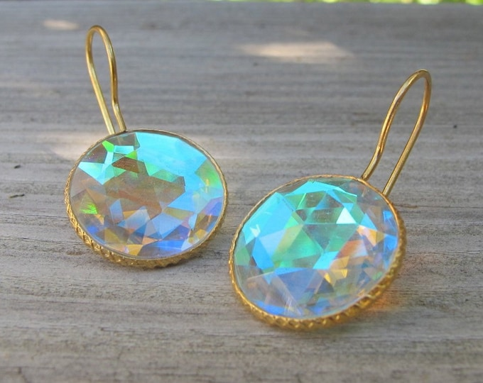 Rainbow Mystic Topaz Dangle Earring- Colorful Neon Opal Drop Round Earring- Boho Rainbow Iridescent Color Earring- Sterling Silver Earring
