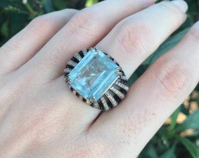 9ct Aquamarine Diamond Rectangle Solitaire Ring- Aquamarine Emerald Cut Gold Ring- Avant Garde Large Statement OOAK Ring
