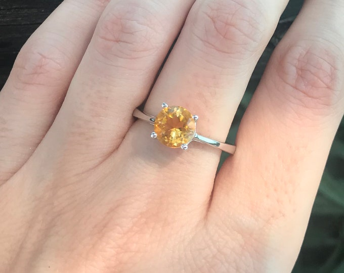 Genuine Citrine Round 4 Prong Ring- Citrine Faceted Silver Ring- Stackable Yellow Topaz Ring- Orange Yellow Gemstone Ring- November Ring