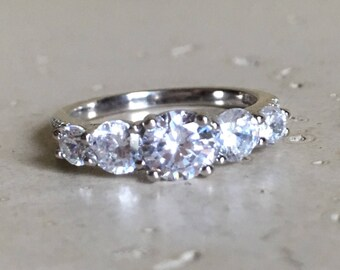 Cubic Zirconia Anniversary Ring Alternative Diamond Engagement Ring Colorless 5 Stone Promise Ring Sterling Silver
