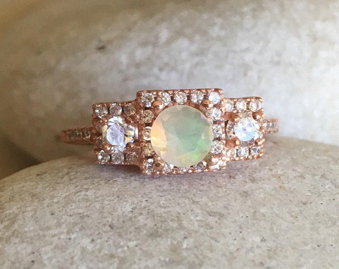 Opal Rose Gold Vintage Engagement Ring- Genuine Fire Opal Promise Ring for Her- Welo Round Opal Anniversary Ring- October Birthstone Ring-