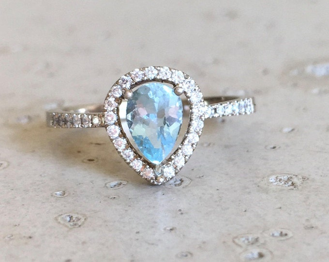 Tear Drop Aquamarine Halo Engagement Ring- Aquamarine Pear Shape Promise Ring- Aquamarine Diamond Anniversary Ring- 14k Rose White Yellow