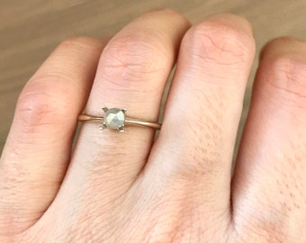 Raw Gray Diamond Promise Ring- Tiny Dainty Raw Diamond Engagement Ring- Round Prong Rough Diamond Ring- White Gold Simple Diamond Stack Ring