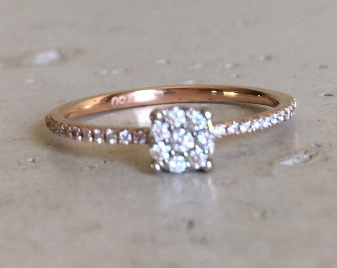 Cluster Diamond Stack Thin Ring- Dainty Diamond Promise Ring- Round Diamond Gold Ring- Petite Diamond Mutlistone Ring- Floral Diamond Ring