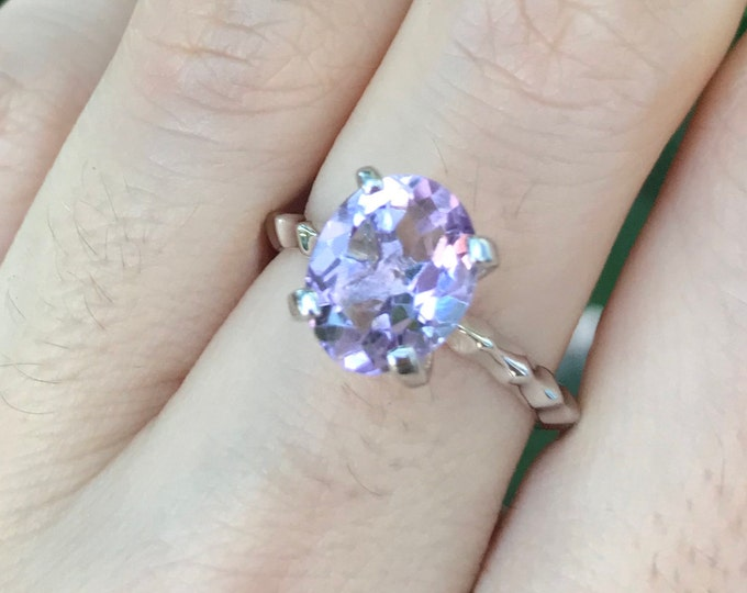Genuine Purple Amethyst Stackable Prong Ring- Oval Purple Gemstone Cocktail Ring- Sterling Silver Amethyst Ring-Unique Purple Statement Ring