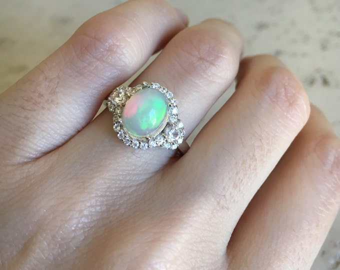 Art Deco Opal Engagement Ring- Oval Shaped Opal Ring- 9x7 Opal Promise Wedding Ring- Sterling Silver Statement Ring- October Birthstone Ring