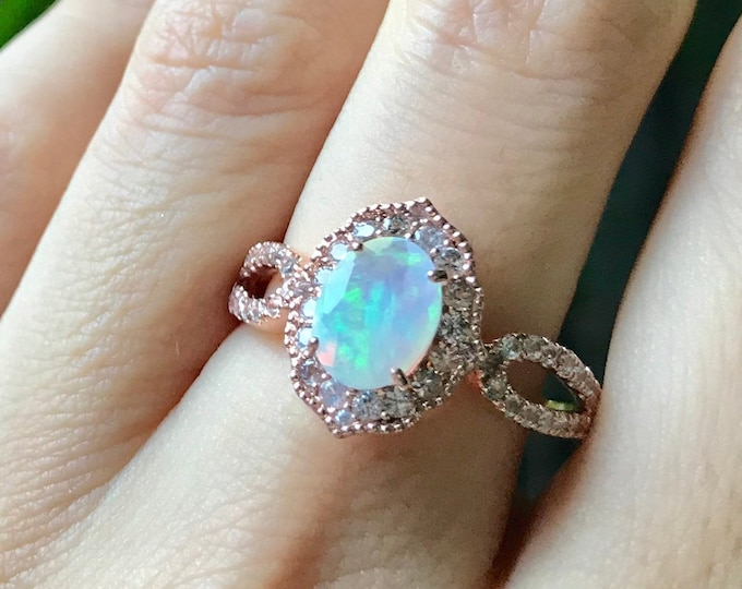 Opal Rose Gold Halo Vintage Ring- Oval Opal Scallop Engagement Rose Gold Ring, Opal White Sapphire Promise Ring, October Birthstone Ring