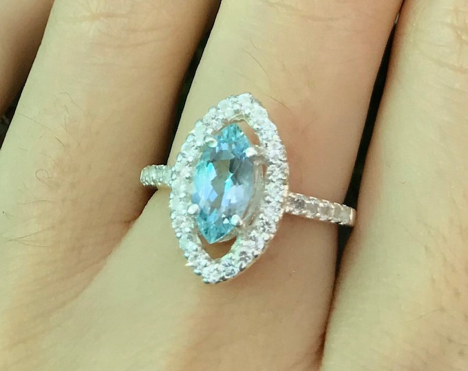 Natural Marquise Aquamarine Engagement Ring- Genuine 10x5mm Large Aquamarine Promise Ring- Aquamarine Halo White Topaz Solitaire Sliver Ring