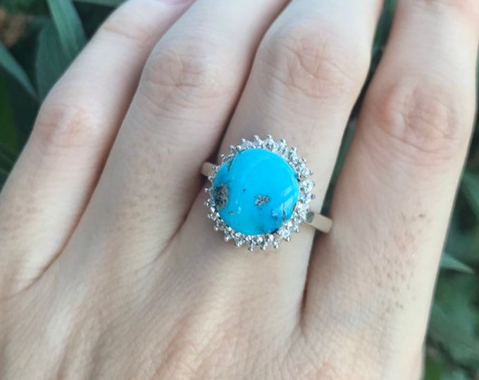 Genuine 5.14ct Turquoise Women Halo Engagement Ring- Round Turquoise Promise Ring for Her- Turquoise Statement Solitaire Ring- December Ring