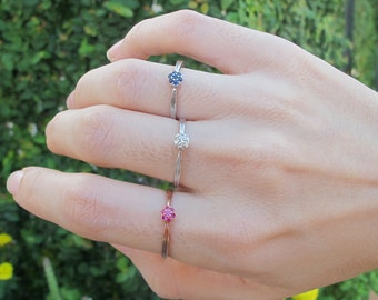 Dainty Cluster Gemstone Stackable Ring in Ruby, Diamond or Sapphire