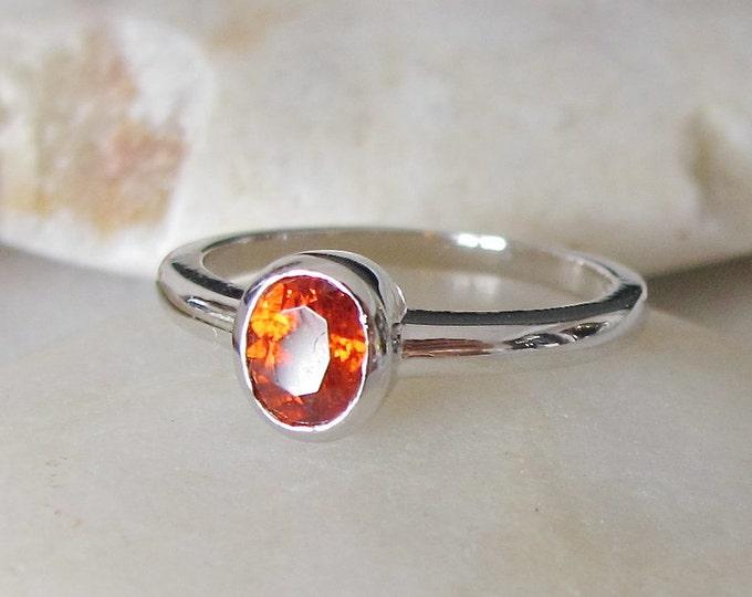 Garnet Orange Hessonite Dainty Ring- Oval Spessarite Garnet Stack Ring- Silver Citrine Ring- January Birthstone Ring- Ring for Children Teen