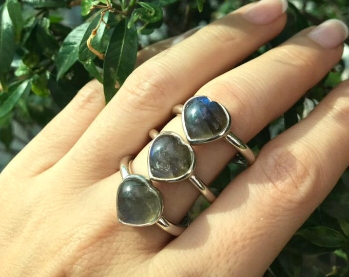Labradorite Heart Promise Ring for Her- Heart Shape Anniversary Ring- Valentine Gifts for Her- Unique Jewelry Gifts for Women