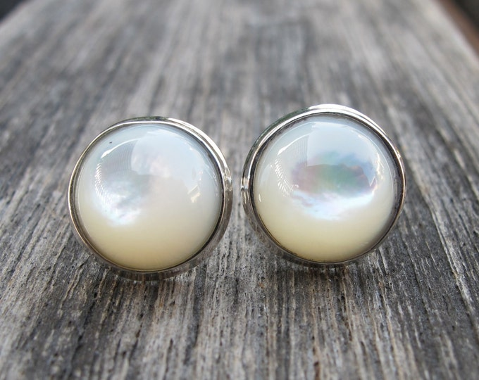 White Shell Pearl Stud Earring- Pearl Bridal Real Pearl Natural Round Stud- Genuine Shell Sterling Silver Earring June Gifts for her