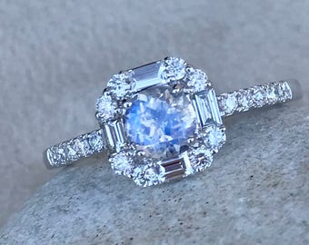 Art Deco Moonstone Engagement Ring- Moonstone and Diamond Promise Ring- Halo Engagement Ring- Unique Moonstone Engagement Ring