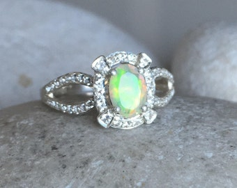 Opal Spilt Band Engagement Ring- Deco Opal Promise Ring- Wedding Bridal Opal Ring- October Birthstone Ring- Oval Opal Faceted Ring