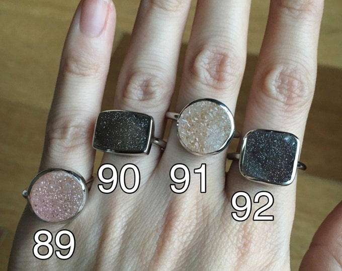 Sterling Silver Druzy Ring- Raw Rock Ring- Statement Druzy Ring- Unique Stone Ring- Sterling SIlver Ring- Boho Gypsy Ring- Shiny Ring
