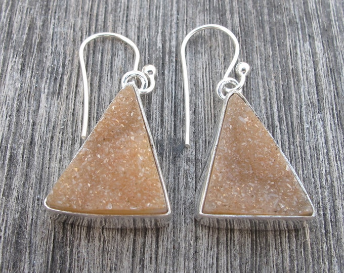 Triangle Druzy Beige Dangle Earring Simple Minimal Bezel Druzy Drop Earring